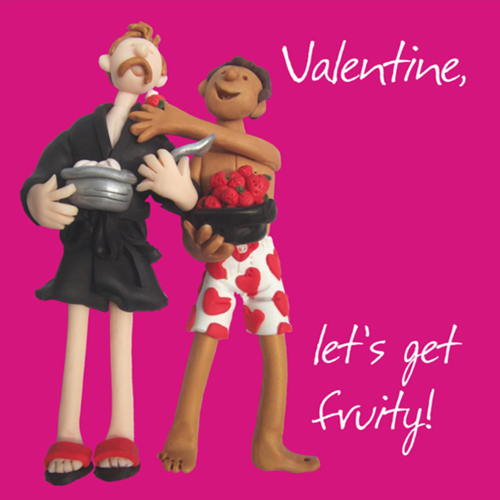 Let's Get Fruity Male Couple Valentine's Day Greeting Card