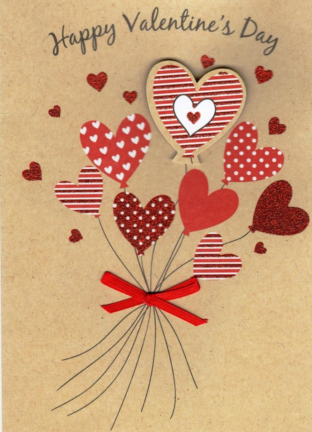 Happy Valentine's Day Pretty Embellished Valentines Card