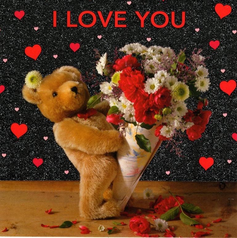 i love you cute teddy bear valentine's day card | cards | love kates, Ideas