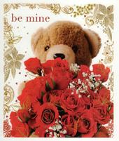 Be Mine Teddy & Roses Valentine's Greeting Card