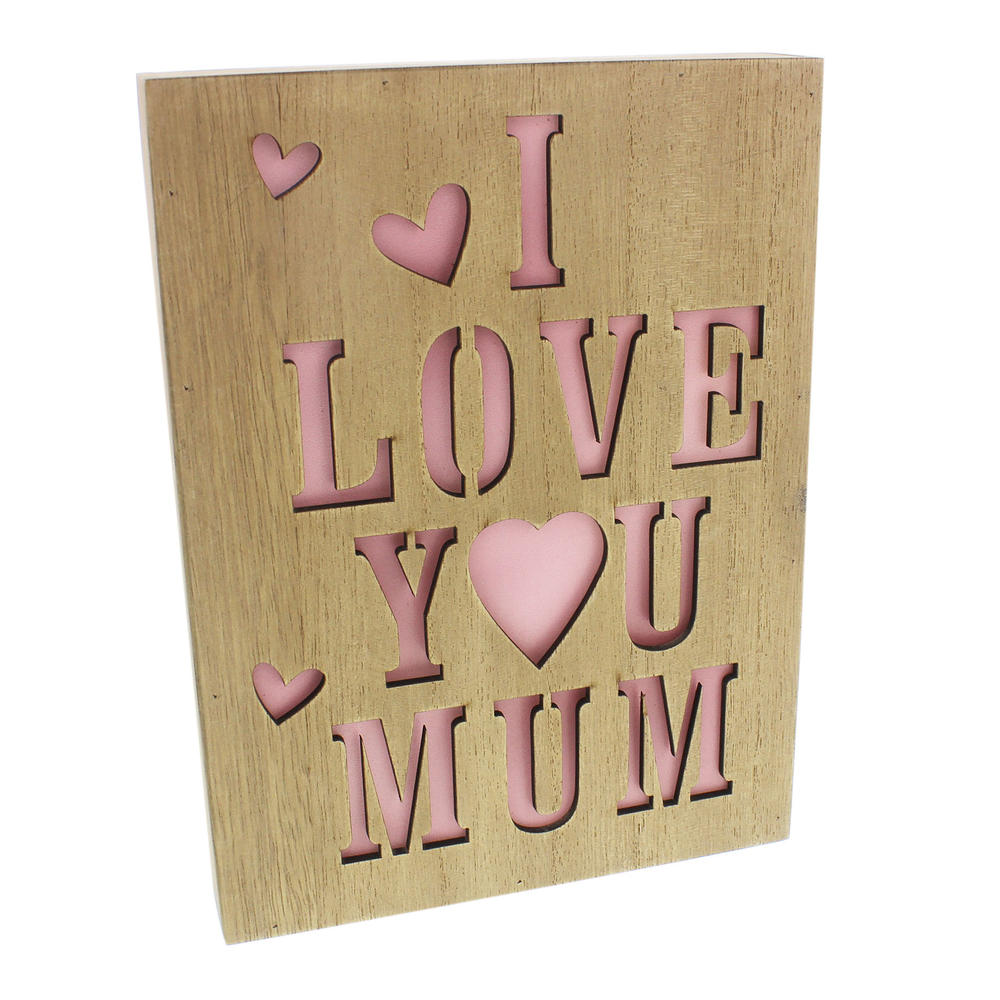I Love You Mum Light Up Wall Plaque