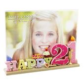 Happy 21st Birthday Freestanding Resin Lettering Photo Frame