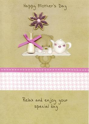 Cute Bear Hand-Finished Mother's Day Card