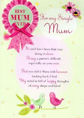 For My Single Mum Mother's Day Card