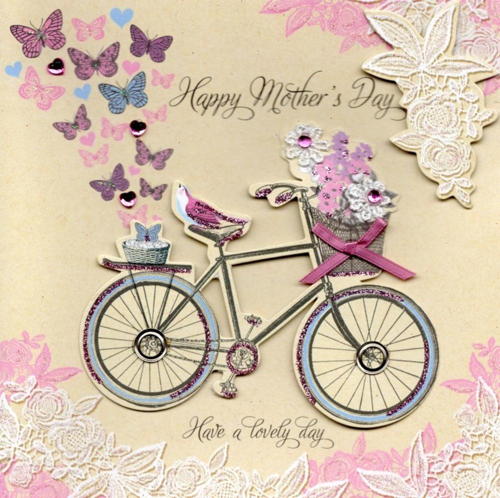 Pretty Bicycle Hand-Finished Happy Mother's Day Card