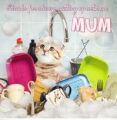 Thanks Mum Mother's Day Cute Flittered Cat Card