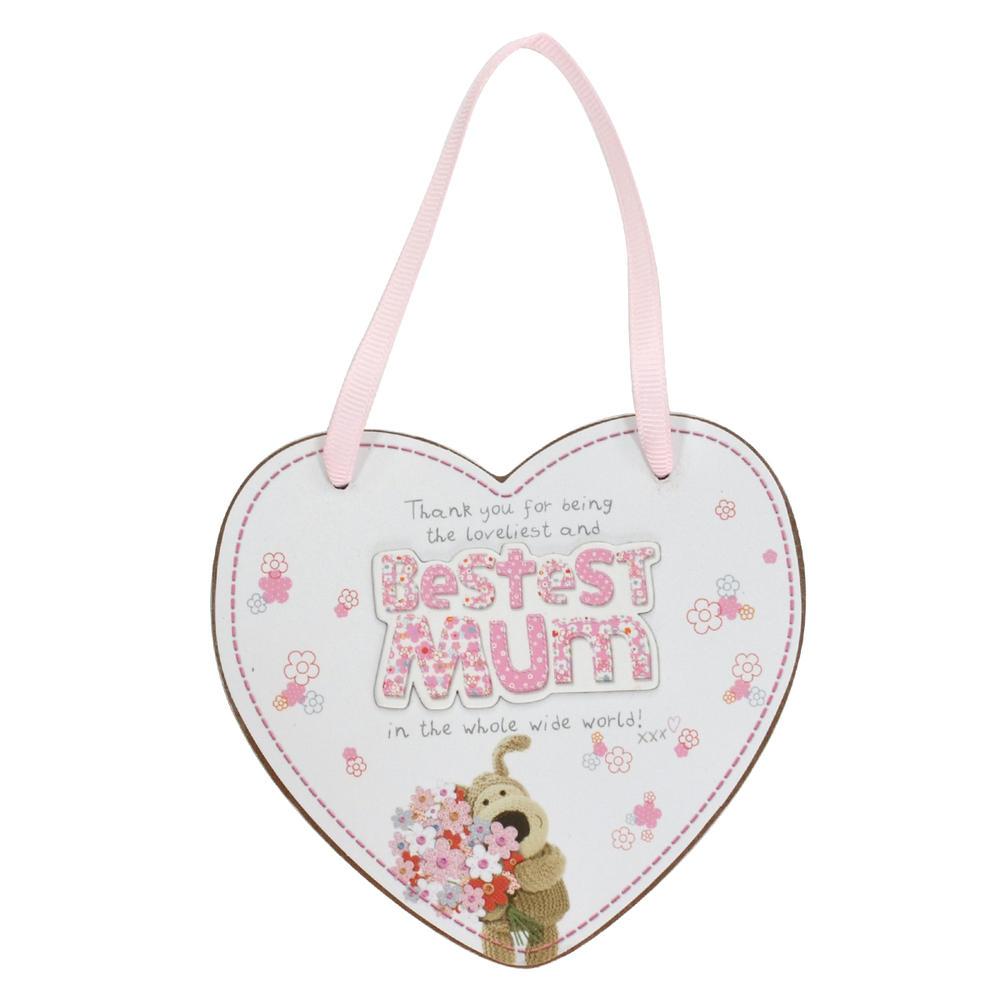 Boofle Bestest Mum Wooden Heart Shaped Plaque