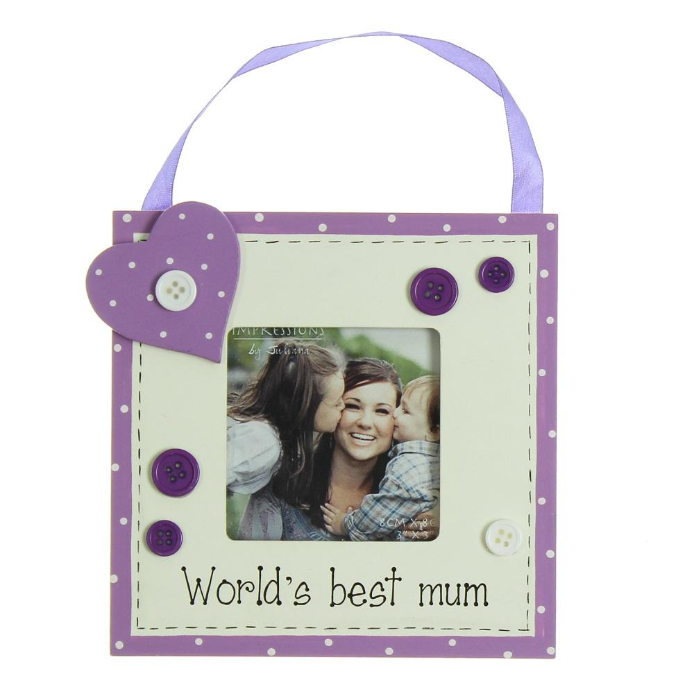 "Worlds Best Mum 3"" x 3"" Wooden Photo Frame"