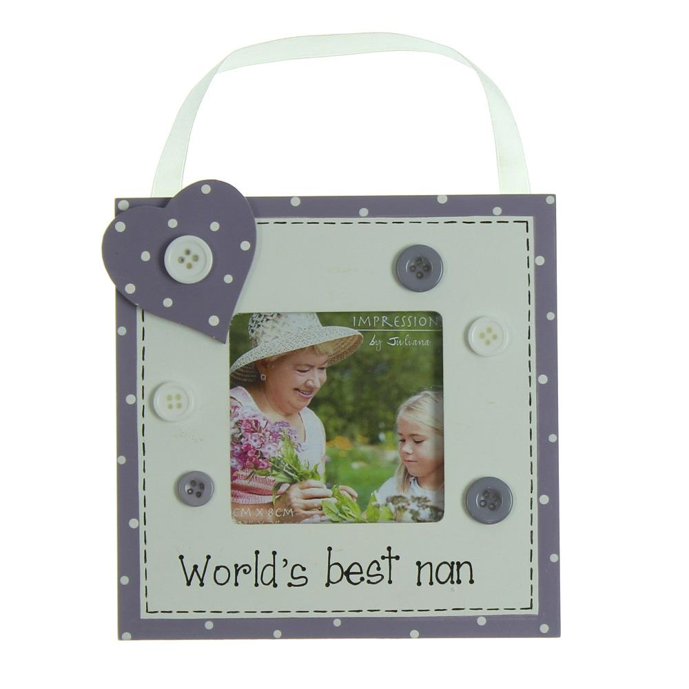 "Worlds Best Nan 3"" x 3"" Wooden Photo Frame"