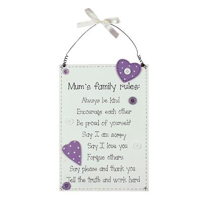 Mum's Family Rules Pretty Wooden Hanging Plaque