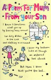 A Poem From Your Son Mother's Day Card