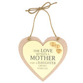 Mother & Daughter Sentiments From The Heart Hanging Plaque