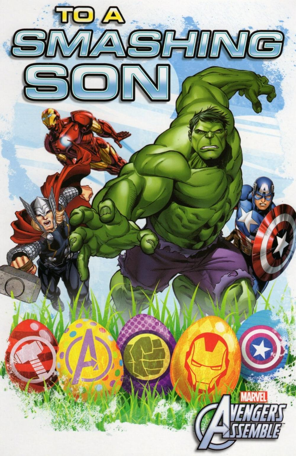 Avengers Smashing Son Easter Greeting Card
