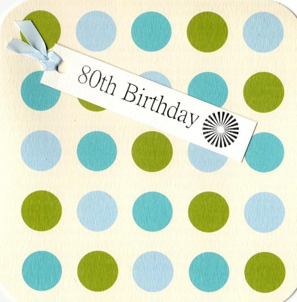 80th Birthday Hand-Finished Tag Tastic Card