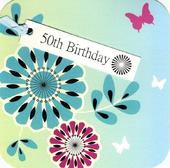 50th Birthday Hand-Finished Tag Tastic Card