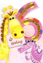 Girls 6th Birthday Jungle Friends Greeting Card