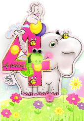 Girls 4th Birthday Jungle Friends Greeting Card
