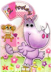 Girls 2nd Birthday Jungle Friends Greeting Card