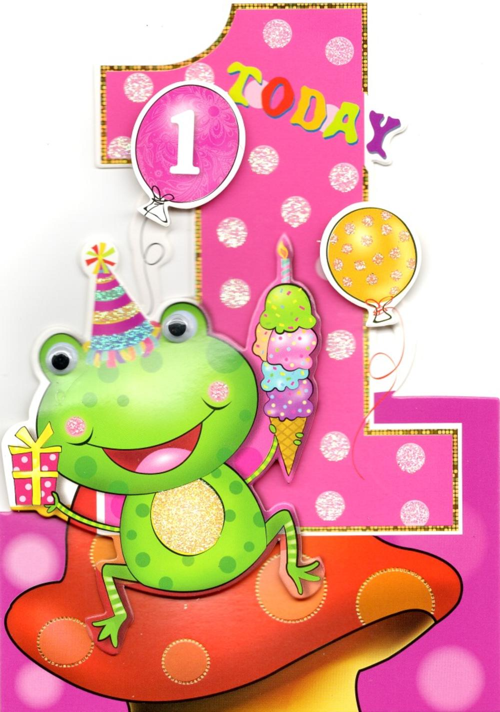 Baby Girls 1st Birthday Jungle Friends Greeting Card