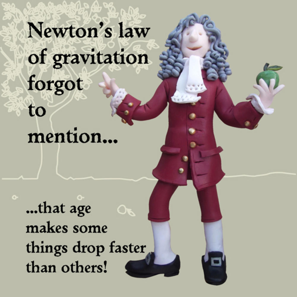 Newton's Law Funny Olde Worlde Birthday Card