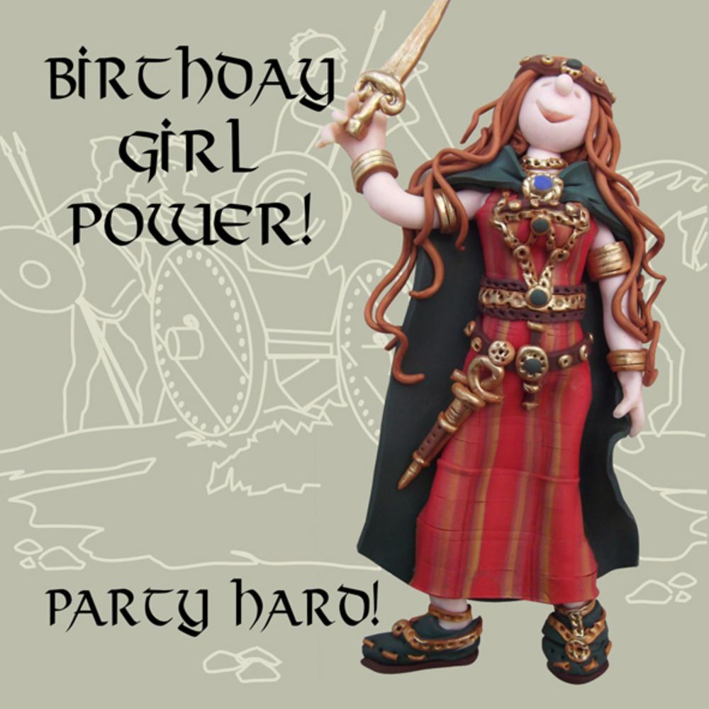 Birthday Girl Power Funny Olde Worlde Birthday Card