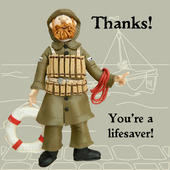 Thanks Lifesaver Funny Olde Worlde Thank You Card