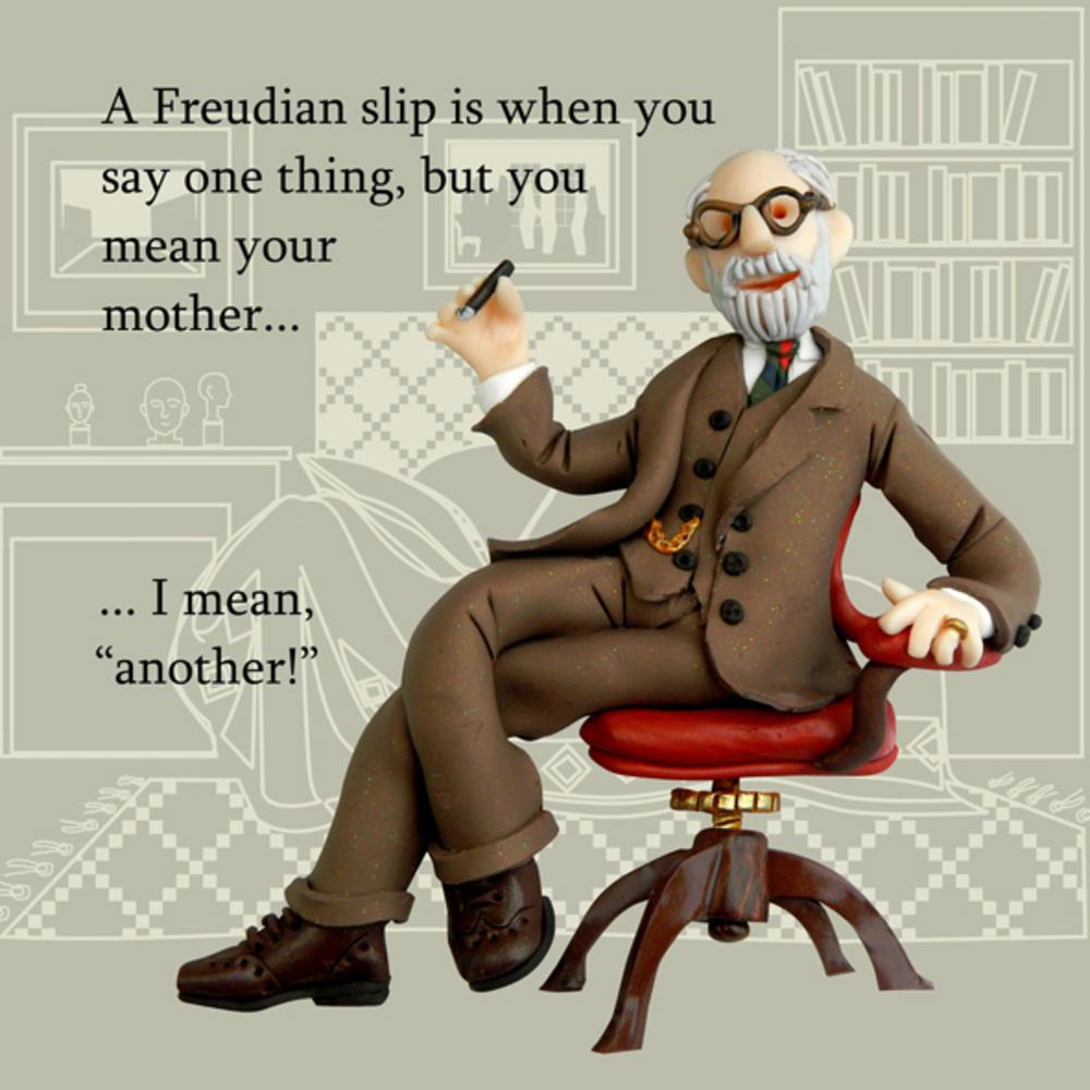 Freudian Slip Funny Olde Worlde Greeting Card