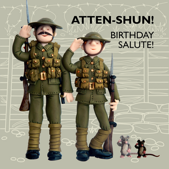 Birthday Salute Funny Olde Worlde Birthday Card Cards Love Kates