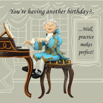 Practice Makes Perfect Funny Olde Worlde Birthday Card