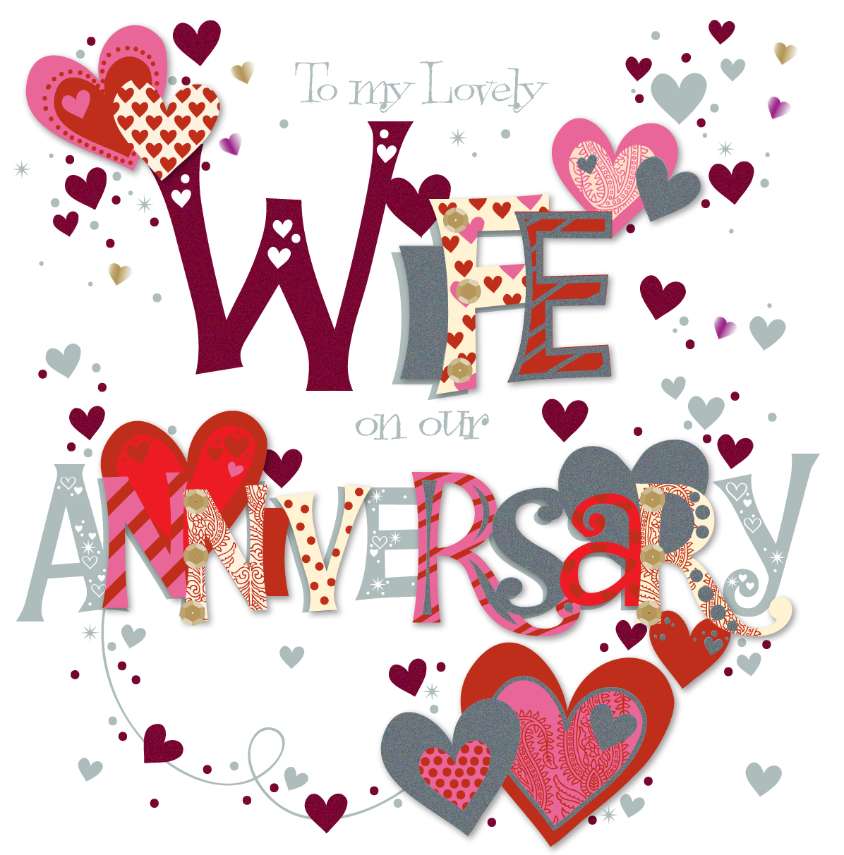 Lovely Wife Wedding Anniversary Greeting Card Cards Love Kates