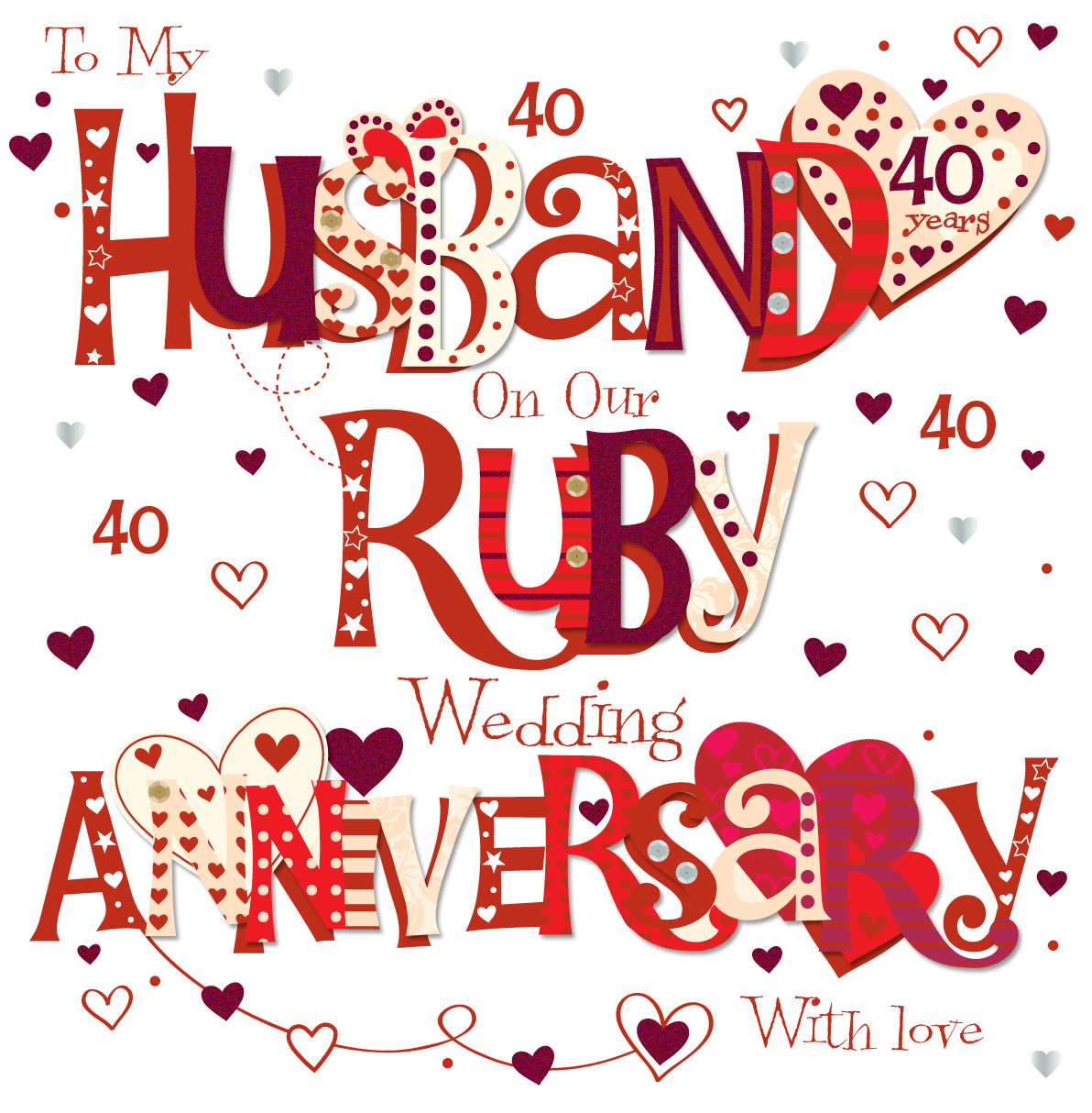 Husband Ruby 40th Wedding Anniversary Greeting Card Cards Love Kates