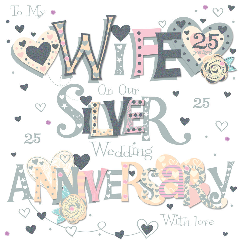 Wife silver th wedding anniversary greeting card cards