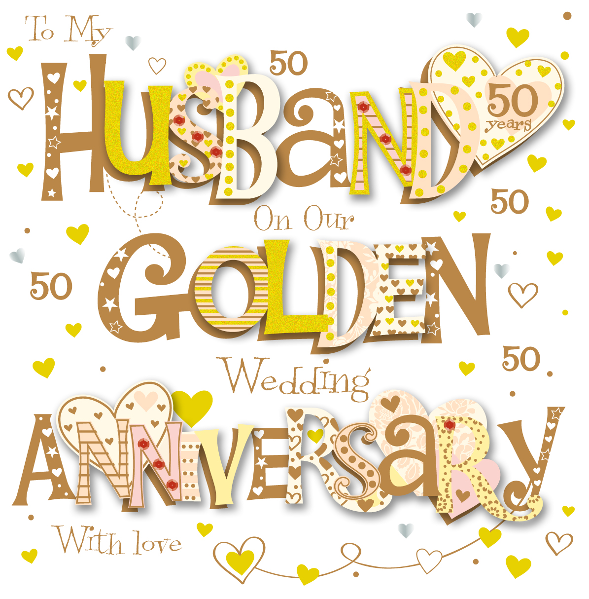 Husband golden 50th wedding anniversary greeting card cards love husband golden 50th wedding anniversary greeting card m4hsunfo