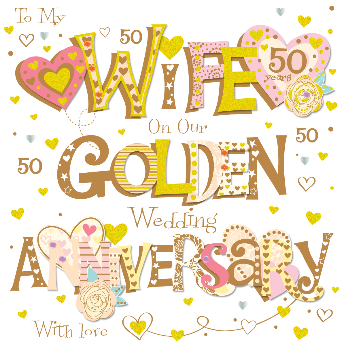 Wife Golden 50th Wedding Anniversary Greeting Card   Cards   Love Kates