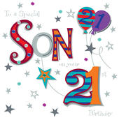 Son On Your 21st Birthday Greeting Card