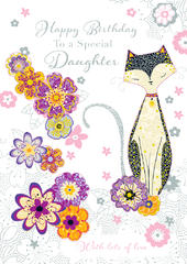 Daughter Pretty Cat Handmade Birthday Greeting Card