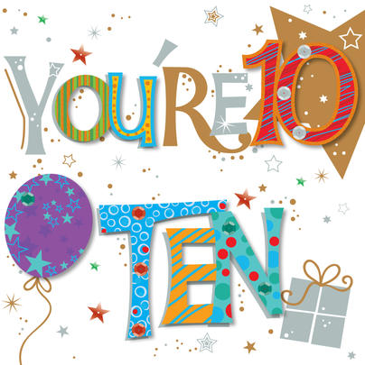 You're Ten 10th Birthday Greeting Card