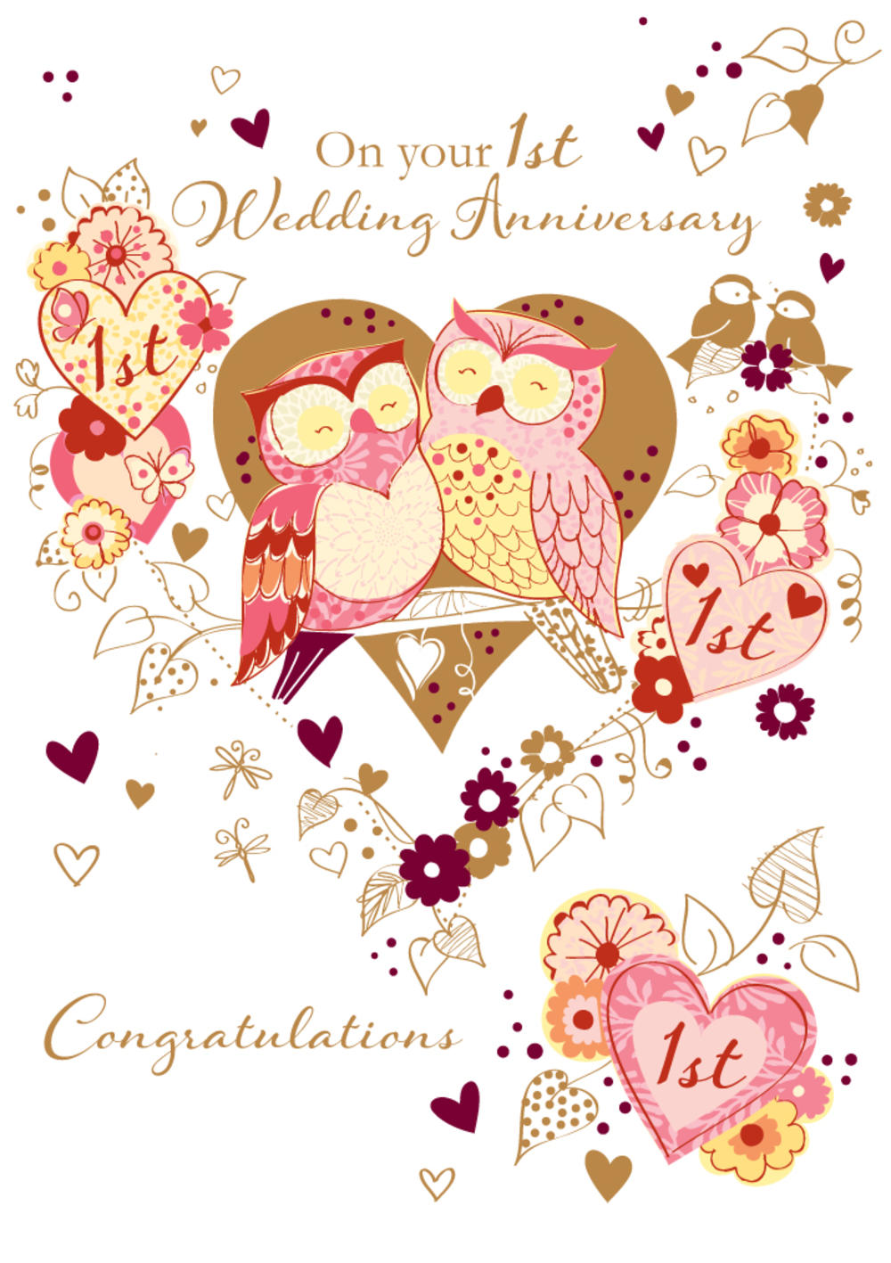 On Your 1st Wedding Anniversary Greeting Card Cards Love Kates