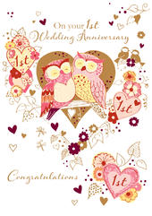 On Your 1st Wedding Anniversary Greeting Card