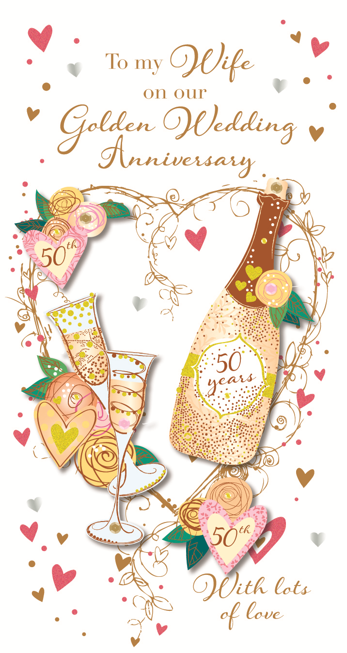 Wife Golden 50th Wedding Anniversary Greeting Card Cards