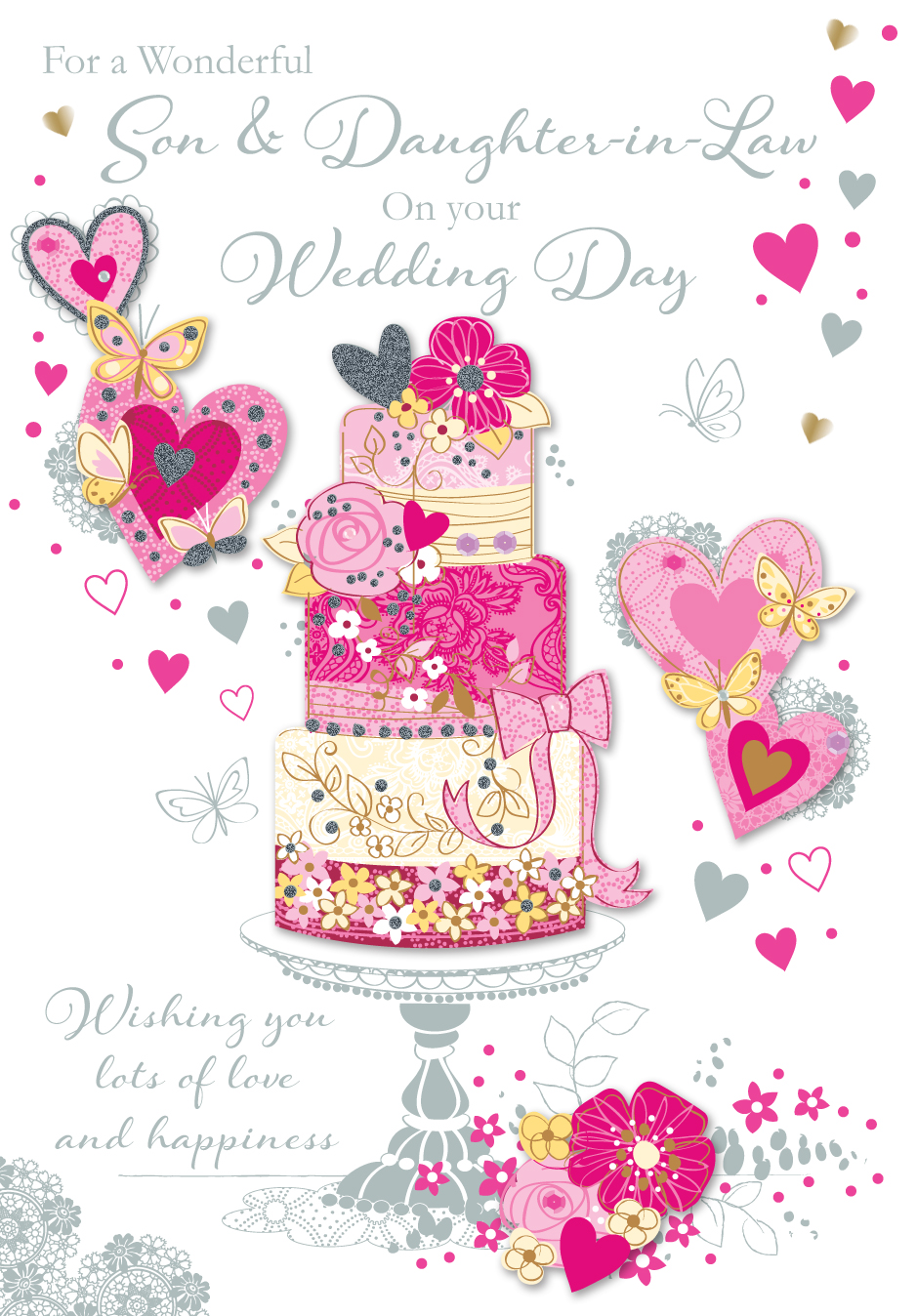 Son daughter in law wedding day greeting card cards love kates son daughter in law wedding day greeting card m4hsunfo