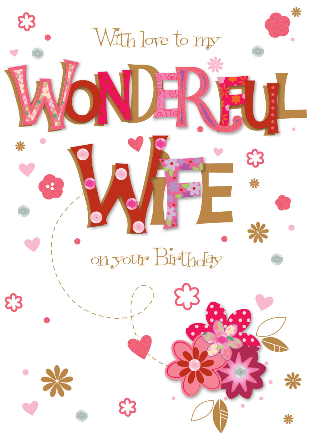 Wonderful Wife On Your Birthday Greeting Card Cards Love Kates