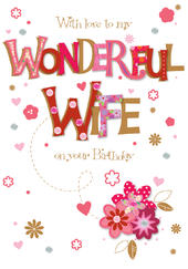 Wonderful Wife On Your Birthday Greeting Card