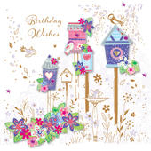Pretty Birds Birthday Wishes Greeting Card