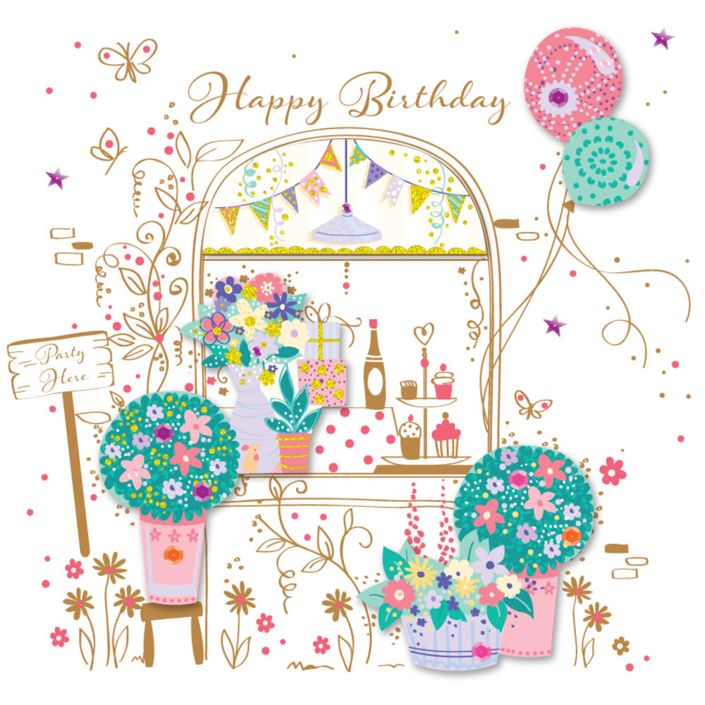 Party Here Pretty Happy Birthday Greeting Card Cards – Beautiful Happy Birthday Cards