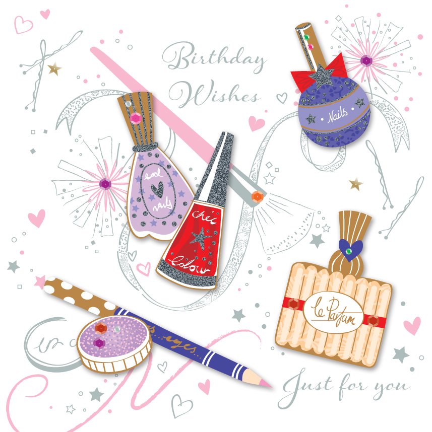 Girly Make Up Birthday Wishes Greeting Card Cards Love Kates