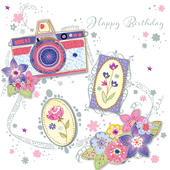 Pretty Camera Happy Birthday Greeting Card