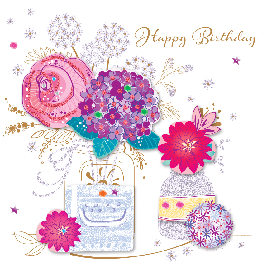 Vase Flowers Happy Birthday Greeting Card Cards Love Kates