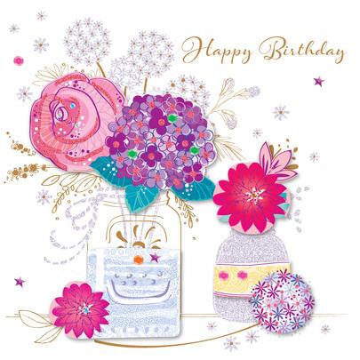 Vase Flowers Happy Birthday Greeting Card