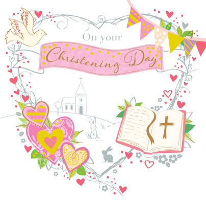 Pink On Your Christening Day Greeting Card